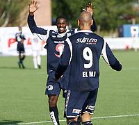 Fotball <br /> Adeccoligaen<br /> Elverum Stadion<br /> 04.08.13<br /> Elverum  v  Kristiansund<br /> Foto: Dagfinn Limoseth, Digitalsport<br /> Olivier Nsiabamfumu og Mahmoud El Haj , Kristiansund