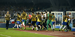 October 25, 2017 - Kolkata, West Bengal, India - Brazil coach, official and reserve players celebrate their goal during the FIFA U 17 World Cup India 2017 Semi Final match in Kolkata. Players of England and Brazil in action during the FIFA U 17 World Cup India 2017 Semi Final match on October 25, 2017 in Kolkata. (Credit Image: © Saikat Paul/Pacific Press via ZUMA Wire)