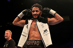 Qais Ashfaq celebrates his win in the Bantamweight Contest at the Echo Arena, Liverpool. PRESS ASSOCIATION Photo. Picture date: Saturday April 21, 2018. See PA story BOXING Liverpool. Photo credit should read: Peter Byrne/PA Wire.