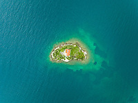 Aerial view of Agios Nikolaos monastery located near Fokida, Greece