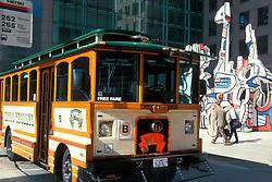 Trolley passing through downtown Houston