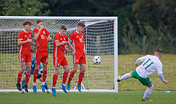 WREXHAM, WALES - Wednesday, October 30, 2019: Wales' Here Hewitt-White, Ruben Davies, Joel Cotterill and Cameron Congreve defend a free-kick from Republic of Ireland's John Joe Power during the 2019 Victory Shield match between Wales and Republic of Ireland at Colliers Park. (Pic by David Rawcliffe/Propaganda)