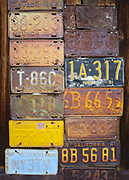 Old license plates cover the wall of a ruin at the Berlin Ghost Town in Nevada's Berlin-Ichthyosaur State Park.