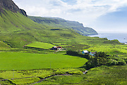 Traditional Scottish farm and farmhouse by sea loch on Isle of Mull in the Inner Hebrides and Western Isles of Scotland