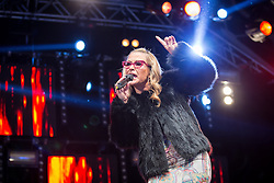 "© Licensed to London News Pictures . 22/08/2014 .  Manchester , UK . ANASTACIA performs on the main stage in the car park . Manchester Pride "" Big Weekend "" in Manchester's "" Gay Village "" today ( 22nd August 2014 ) . Photo credit : Joel Goodman/LNP"