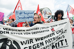 July 8, 2017 - Hamburg, Germany - July 8th, Hamburg. Merkel was the host during the G20 summit, at the same time around 170 organizations were came together under the motto of the demo ''Solidarity without borders instead of G20''...The protest included representatives from both of Germany's main opposition parties, the socialist Left party and the Green party, the trade unions Verdi and IG Metall, a variety of regional peace organizations, as well as a number of other organizations somewhat further to the left, including the German Communist Party (DKP) and the International Socialist Organization (ISO). Around 50,000 and 100,000 people demonstrated around the city and closer to the security zones of the G20 summit. (Credit Image: © Romy Arroyo Fernandez/NurPhoto via ZUMA Press)