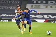 Chelsea defender Ben Chilwell (21) holds off Tottenham Hotspur midfielder Gedson Fernandes (30)*** during the EFL Cup Fourth Round match between Tottenham Hotspur and Chelsea at Tottenham Hotspur Stadium, London, United Kingdom on 29 September 2020.