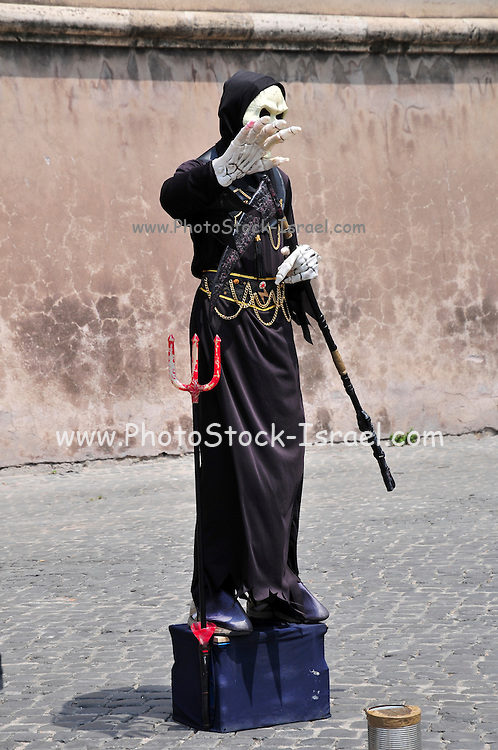 Rome, Italy Street performer DEATH human statue
