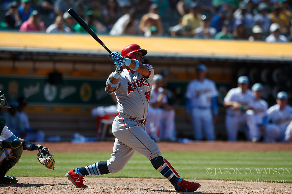 OAKLAND, CA - JUNE 17: Luis Valbuena #18 of the Los Angeles Angels of Anaheim at bat against the Oakland Athletics during the tenth inning at the Oakland Coliseum on June 17, 2018 in Oakland, California. The Oakland Athletics defeated the Los Angeles Angels of Anaheim 6-5 in 11 innings. (Photo by Jason O. Watson/Getty Images) *** Local Caption *** Luis Valbuena