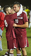 Fort Ann's Tyler Gleason (8) and Kevin Carpenter react after losing 2-1 to Chaz  in the Class D state semifinals at Faller Field in Middletown on Saturday. Nov. 16, 2013. (Tom Bushey – Special to The Post-Star)