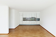 interior of an apartment, empty living room with kitchen, parquet floor