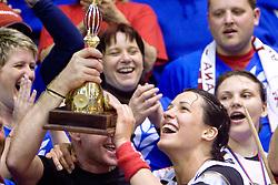 Andrea Lekic with team of Krim  at last 10th Round handball match of Slovenian Women National Championships between RK Krim Mercator and RK Olimpija, on May 15, 2010, in Galjevica, Ljubljana, Slovenia. Olimpija defeated Krim 39-36, but Krim became Slovenian National Champion. (Photo by Vid Ponikvar / Sportida)