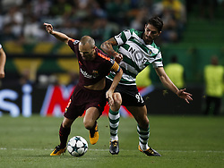 September 27, 2017 - Lisbon, Portugal - Barcelona's midfielder Andres Iniesta (L)  vies for the ball with Sporting's defender Cristiano Piccini (R)  during  the Champions League 2017/18 match between Sporting CP vs FC Barcelona, in Lisbon, on September 27, 2017. (Credit Image: © Carlos Palma/NurPhoto via ZUMA Press)