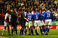 Photo. Matthew Lewis.<br />Leicester City v Arsenal. FA Barclaycard Premiership. 06/12/2003.<br /><br />Leicester's Arsenal players gather round referee Rob Styles.