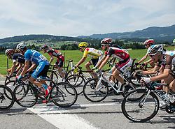 12.07.2015, Bregenz, AUT, Österreich Radrundfahrt, 8. Etappe, von Innsbruck nach Bregenz, im Bild das Hauptfeld am Weg nach Bregenz mit Victor Gonzalez de la Parte (ESP, Team Vorarlberg) im gelben Trikot // the peleton goes to the finish in Bregenz with the men in the yellow jersey Victor Gonzalez de la Parte of Spain during the Tour of Austria, 8th Stage, from Innsbruck to Bregenz, Bregenz, Austria on 2015/07/12. EXPA Pictures © 2015, PhotoCredit: EXPA/ Reinhard Eisenbauer