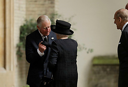 The Prince of Wales greets Queen Elizabeth II and the Duke of Edinburgh at the funeral of Countess Mountbatten of Burma at St Paul's Church, Knightsbridge, London.