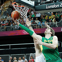 31 July 2012: Brazil Tiago Splitter goes for the reverse layup during 67-62 Team Brazil victory over Team Great Britain, during the men's basketball preliminary, at the Basketball Arena, in London, Great Britain.