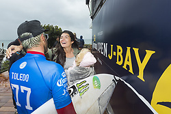 July 20, 2017 - Filipe Toledo of Brazil celebrates his 2017 Corona Open J-Bay WIN with his family after defeating Frederico Morais of Brazil in the final in epic overhead conditions at Supertubes, Jeffreys Bay, South Africa.  The victory is Toledo's second Championship Tour win of his career...Corona Open J-Bay, Eastern Cape, South Africa - 20 Jul 2017. (Credit Image: © Rex Shutterstock via ZUMA Press)