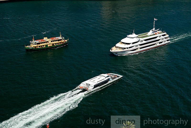 A Sydney Ferry, a Rivercat, and a private tour ferry. Circular Quay, Sydney, Australia