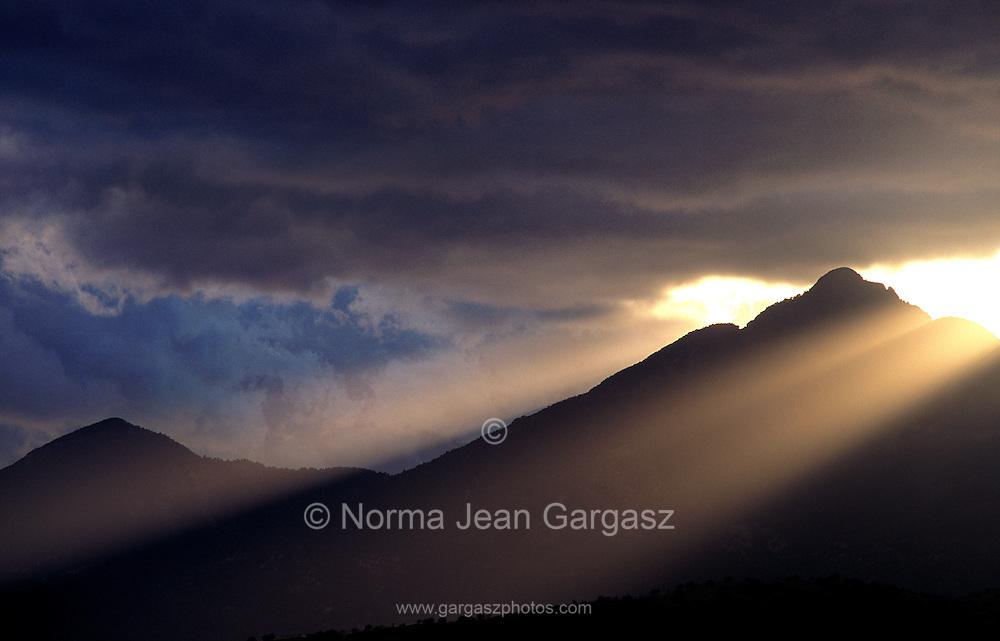 A winter storm breaks over the Santa Rita Mountains, a Sky Island in the Coronado National Forest, Sonoran Desert, Sonoita, Arizona, USA.