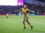 Arsenal's Alexis Sanchez celebrates scoring his sides second goal during the Premier League match at the London Stadium, London. Picture date December 3rd, 2016 Pic David Klein/Sportimage