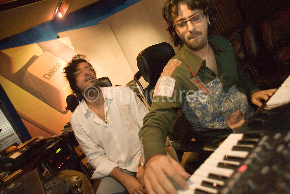 Salim and Sulaiman Merchant, musicians and famous Bollywood music producers who produced the score for the show at work in their Mumbai studio<br /> <br /> The Merchants of Bollywood, An Indian theatrical dance musical, charts the history of the world's largest and most prolific film industry, and is loosely based on the showbusiness, Merchant family. Seen by over two million people worldwide, the show is homage to the world of Indian cinema.