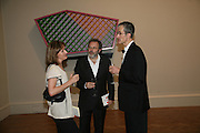 FIONA RAE, MATHEW COLLINGS AND GEOFF DYER, 240th Royal Academy Summer Exhibition. Annual dinner. Piccadilly. London. 3 June 2008.  *** Local Caption *** -DO NOT ARCHIVE-© Copyright Photograph by Dafydd Jones. 248 Clapham Rd. London SW9 0PZ. Tel 0207 820 0771. www.dafjones.com.