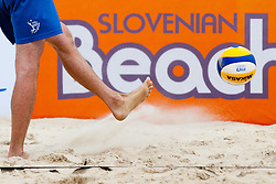 Volleyball ball being kicked and Beachtour logo in background at Beachmaster 2011 tournament for Slovenian BeachTour on July 22, 2011, in Ptuj, Slovenia. (Photo by Matic Klansek Velej / Sportida)
