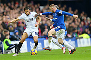 Wayne Rooney and Cuco Martina of Everton look to tackle Andros Townsend of Crystal Palace (l). Premier league match, Everton v Crystal Palace at Goodison Park in Liverpool, Merseyside on Saturday 10th February 2018. pic by Chris Stading, Andrew Orchard sports photography.