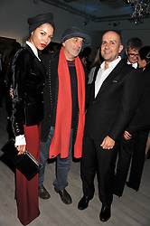Left to right, ANA ARAUJO, RON ARAD and MARC QUINN at Arts for Human Rights gala dinner in aid of The Bianca Jagger Human Rights Foundation in association with Swarovski held at Phillips de Pury & Company, Howick Place, London on 13th October 2011.