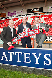 From Left to right Andrew Witham Doncaster Rovers Charles Glover CEO Atteys and  Phil Crawley (Solicitor at Atteys)..www.pauldaviddrabble.co.uk..13 February 2012 -  Image © Paul David Drabble