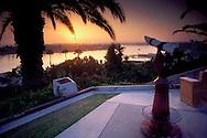 Telescope at sunset from Inspiration Point overlook, Corona del Mar, Newport Beach, California