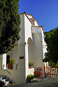 Monastery of Zoodochos Pigi, Poros, Greece. Poros is a small Greek island-pair in the southern part of the Saronic Gulf, Greece