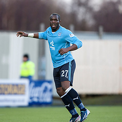 Dundee's Christian Nade.<br /> Falkirk 2 v 0 Dundee, Scottish Championship game at The Falkirk Stadium.<br /> © Michael Schofield.