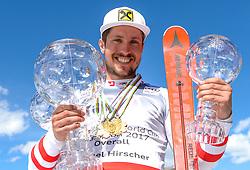THEMENBILD - Skistar Marcel Hirscher gibt am 4. September seine Zukunftspläne in Salzburg bekannt. Seit seinem ersten Weltcupsieg 2009 in Val d'Isere gewann er den Gesamtweltcup siebenmal in Folge und steht derzeit bei insgesamt 68 Siegen. Damit zählt er zu den erfolgreichsten Skirennläufern der Geschichte. Hier im Bild: Marcel Hirscher (AUT) mit der Kristallkugel für den Sieg im Gesamtweltcup, Saison 2016/2017 // Ski star Marcel Hirscher announces his plans for the future in Salzburg on 4 September. Since winning his first World Cup victory in Val d'Isere in 2009, he has won the overall World Cup seven times in a row and currently has a total of 68 victories. He is one of the most successful ski racers in history. Here in the picture: Marcel Hirscher (AUT) with the crystal ball for the victory in the overall World Cup season 2016/2017. EXPA Pictures © 2019, PhotoCredit: EXPA/ Erich Spiess