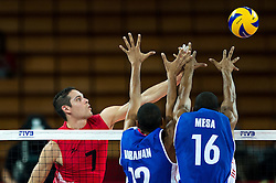 10.09.2014, Centennial Hall, Breslau, POL, FIVB WM, Kuba vs Kanada, 2. Runde, Gruppe F, im Bild Dallas Soonias canada #7 Abrahan Alfonso Gavilan cuba #12 Isbel Mesa Sandoval cuba #16 // Dallas Soonias canada #7 Abrahan Alfonso Gavilan cuba #12 Isbel Mesa Sandoval cuba #16 during the FIVB Volleyball Men's World Championships 2nd Round Pool F Match beween Cuba and Canada at the Centennial Hall in Breslau, Poland on 2014/09/10. EXPA Pictures © 2014, PhotoCredit: EXPA/ Newspix/ Sebastian Borowski<br /> <br /> *****ATTENTION - for AUT, SLO, CRO, SRB, BIH, MAZ, TUR, SUI, SWE only*****