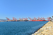 Loaded Container Ships at the Port of Long Beach