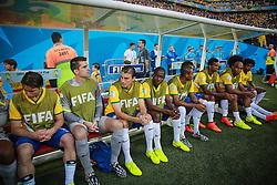 Banco de reservas e comissão técnica na partida entre Brasil x Croácia, na abertura da Copa do Mundo 2014, no Estádio Arena Corinthians, em São Paulo. FOTO: Jefferson Bernardes/ Agência Preview