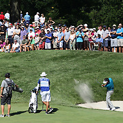 Bubba Watson, USA, hits out of the sand trap on the seventh during the second round of The Barclays Golf Tournament at The Plainfield Country Club, Edison, New Jersey, USA. 28th August 2015. Photo Tim Clayton
