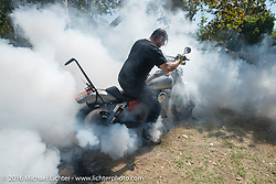 Great burn out from the Vancouver bunch at the Born Free 8 Motorcycle Show on Sunday. Silverado, CA, USA. June 26, 2016.  Photography ©2016 Michael Lichter.