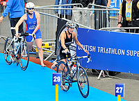 Photo: Paul Greenwood/Richard Lane Photography. Strathclyde Park Elite Triathlon. 17/05/2009. <br />Englan's Jo Parker, left, and Jaqui Slack arrive at the transition stage between cycling and running.