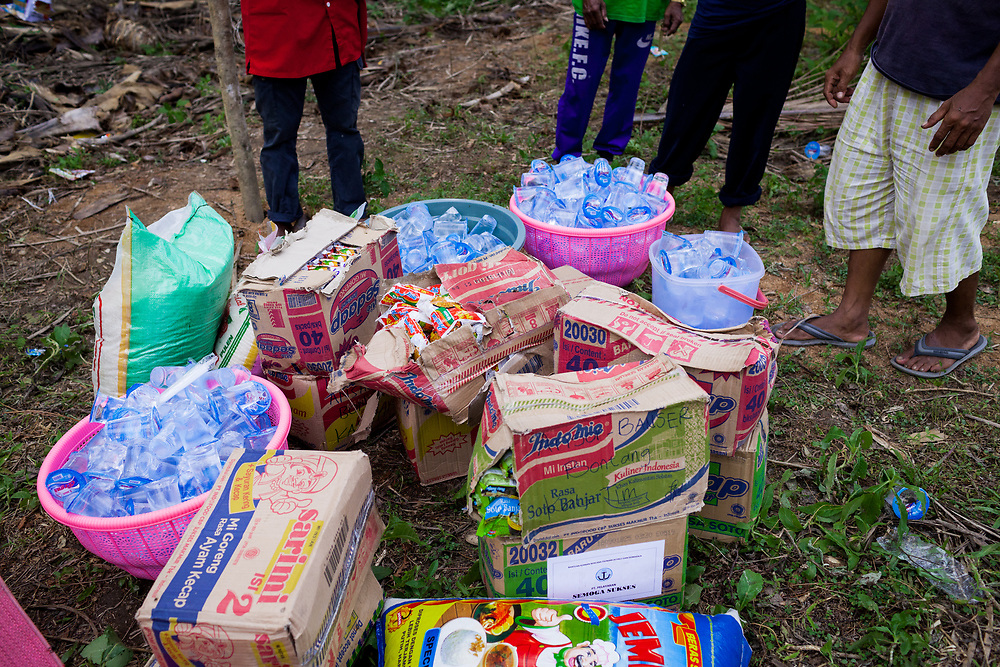 Donated Food.  1500 people were displaced and found shelter in Langaoge coconut farm when a powerful  7.5 earthquake magnitude struck off the coast of Donggala (epicentre) Central Sulawesi, Indonesia on Sept. 28th causing a tsunami and destroying many homes.