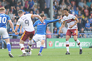 Bradford City forward Charlie Wyke (9)  and Bradford City midfielder Timothee Dieng (8)  during the EFL Sky Bet League 1 match between Rochdale and Bradford City at Spotland, Rochdale, England on 21 April 2018. Picture by Mark Pollitt.