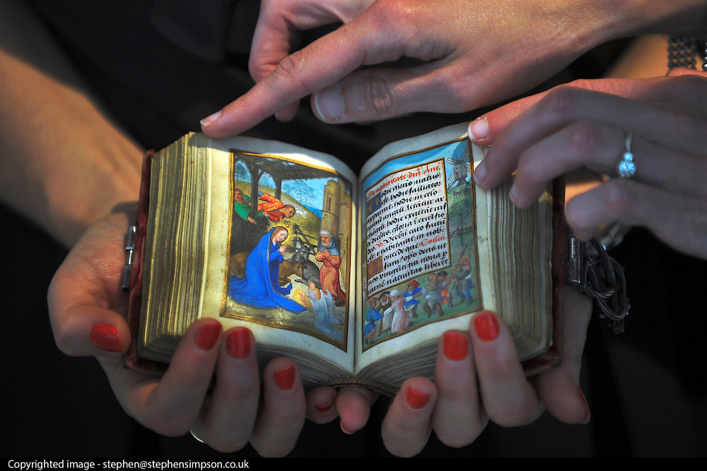 © licensed to London News Pictures. LONDON, UK.  13/06/11. The Imhof prayerbook by Simon Bening (1483-1561) is a personal prayer book and the earliest dated work by the artist recognised as the most celebrated illuminator of the renaissance. It is expected to fetch £1.5-2Million at auction on 6 July 2011. Photo call at Christie's, London, for the unveiling of rarely seen masterpieces by Picasso, Michelangelo and Gainsborough before they are offered for sale. Photo credit should read Stephen Simpson/LNP