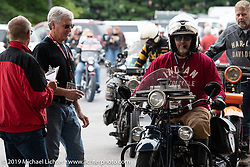 Steve Rinker arrives at the finish in Keene on his1928 Indian Scout during the Motorcycle Cannonball coast to coast vintage run. Stage-1 (145-miles) from Portland, Maine to Keene, NH. Saturday September 8, 2018. Photography ©2018 Michael Lichter.