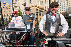 Jeff Lauritsen of Nebraska on his 1916 Excelsior beside Fred Wacker of Illinois on his 1913 Indian and Buck Carson of Texas on his 1916 BSA on the Atlantic City boardwalk at the start of the Motorcycle Cannonball Race of the Century. Stage-1 from Atlantic City, NJ to York, PA. USA. Saturday September 10, 2016. Photography ©2016 Michael Lichter.