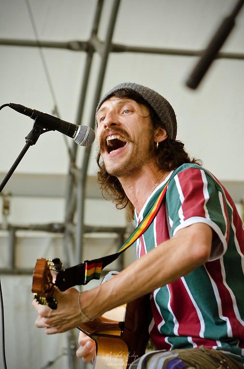 Eugene Hütz during the opeing song of Gogol Bordello at The Appel Farm's 2011 Arts & Music Festival in Elmer, NJ.