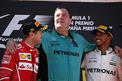 May 14, 2017 - Barcelona, Spain - Motorsports: FIA Formula One World Championship 2017, Grand Prix of Spain, .#5 Sebastian Vettel (GER, Scuderia Ferrari), Karl Fanson (Mercedes AMG Petronas F1 Team), #44 Lewis Hamilton (GBR, Mercedes AMG Petronas F1 Team) (Credit Image: © Hoch Zwei via ZUMA Wire)
