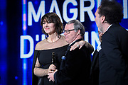 Brussels , 01/02/2020 : Les Magritte du Cinema . The Academie Andre Delvaux and the RTBF, producer and TV channel , present the 10th Ceremony of the Magritte Awards at the Square in Brussels .<br /> Pix: Monica Bellucci; Pascal Duquenne , dressed by Maison Degand<br /> Credit : Alexis Haulot - Dana Le Lardic - Didier Bauwerarts - Frédéric Sierakowski - Olivier Polet / Isopix