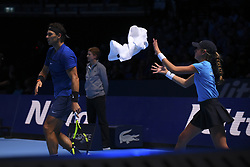November 13, 2017 - London, England, United Kingdom - Rafael Nadal of Spain reacts in his Singles match against David Goffin of Belgium during day two of the Nitto ATP World Tour Finals at O2 Arena on November 13, 2017 in London, England. (Credit Image: © Alberto Pezzali/NurPhoto via ZUMA Press)